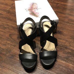 Jessica Simpson Black Leather Wedges